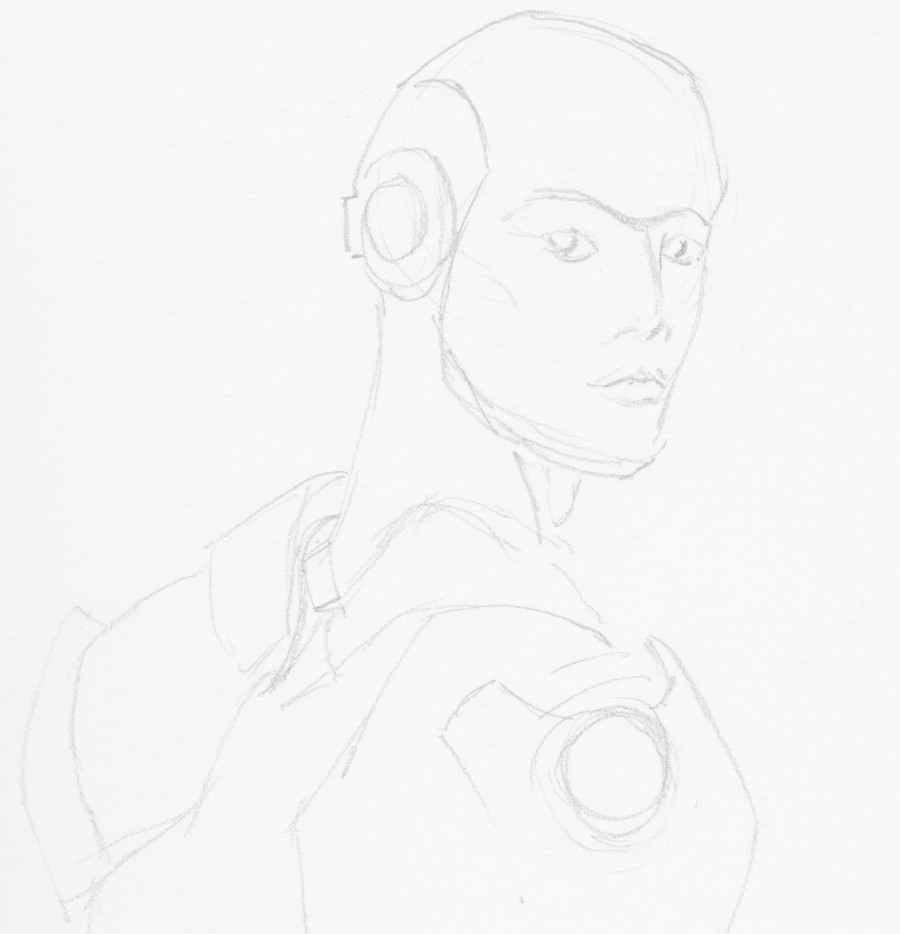 Omega pictured as a non-binary humanoid robot