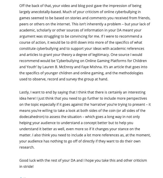 BCM215 Assessment 1 Part 4 - Comment #1 (Screenshot #2)