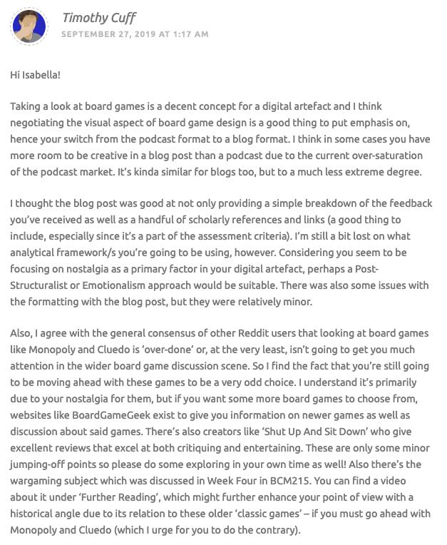 BCM215 Assessment 1 Part 4 - Comment #3 (Screenshot #1)